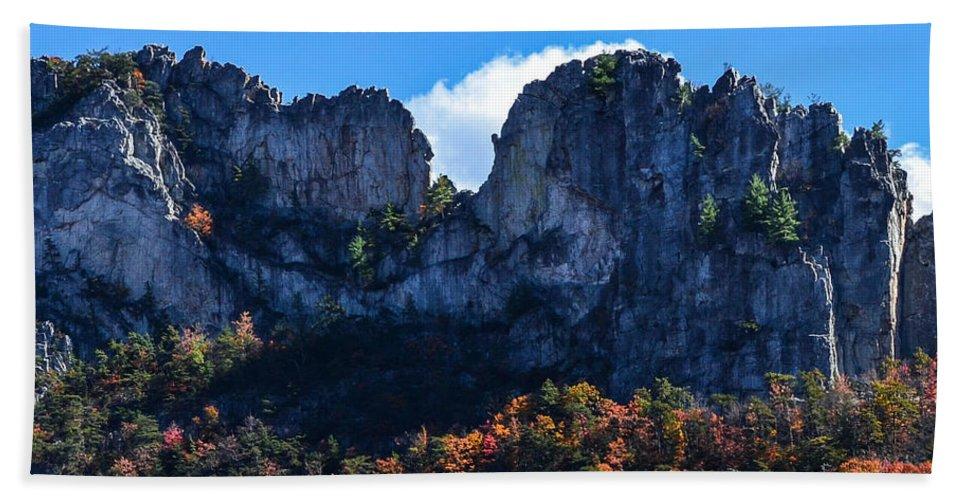 Seneca Rock Hand Towel featuring the photograph Seneca Rocks by Wanda J King