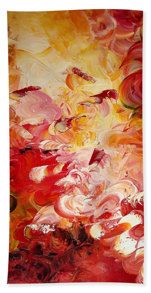 Abstract Bath Sheet featuring the painting Senteurs Exquises by Isabelle Vobmann