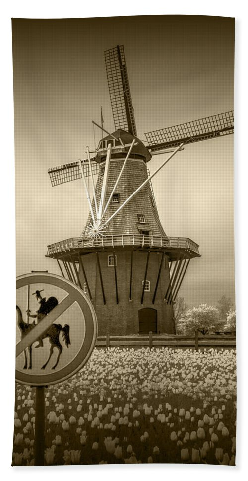 Amber Bath Sheet featuring the photograph Sepia Colored No Tilting At Windmills by Randall Nyhof