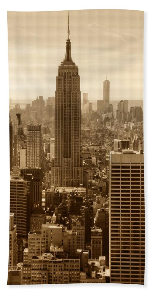 Sepia Empire State Building New York City Hand Towel featuring the photograph Sepia Empire State Building New York City by Dan Sproul