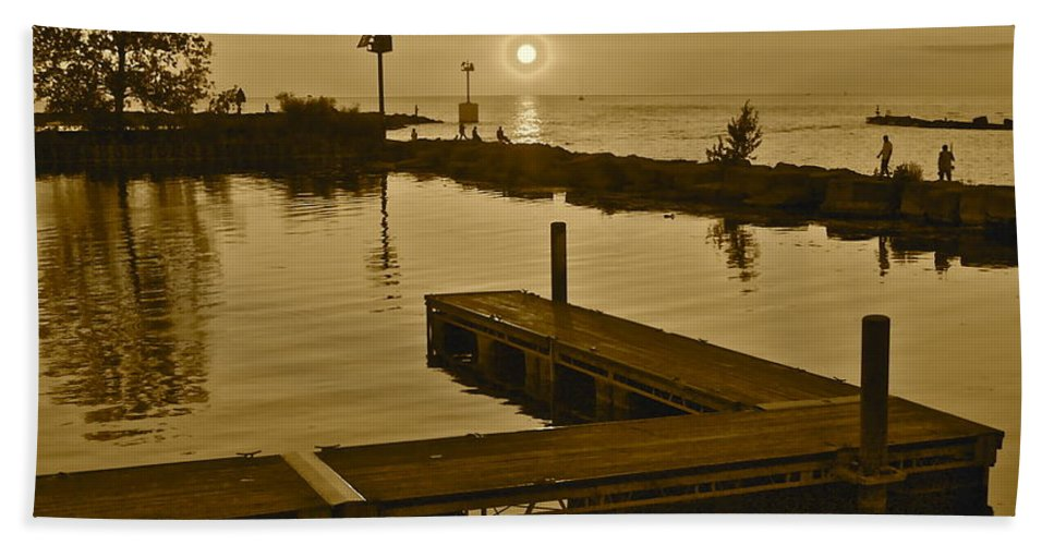 Sunset Hand Towel featuring the photograph Sepia Sunset by Frozen in Time Fine Art Photography