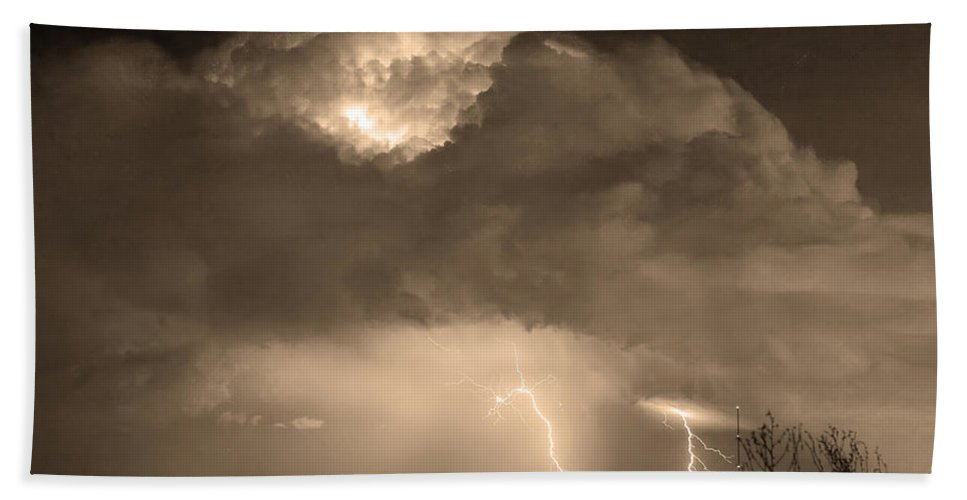 Lightning Bath Sheet featuring the photograph Sepiathunderstorm Boulder County Colorado  by James BO Insogna
