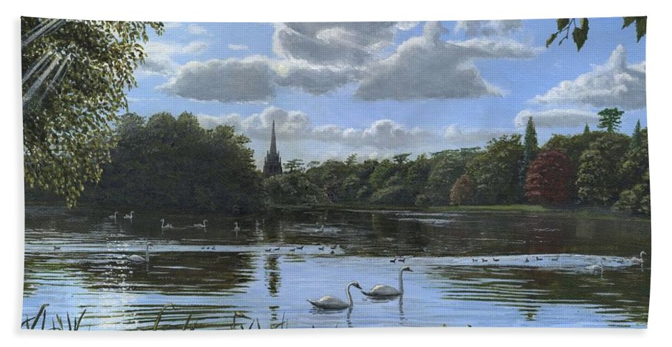 Landscape Bath Towel featuring the painting September Afternoon In Clumber Park by Richard Harpum