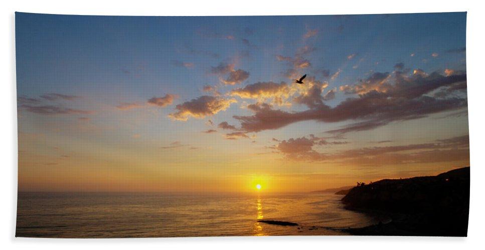 Sunset Bath Sheet featuring the photograph September Sunday Sunset by Joe Schofield