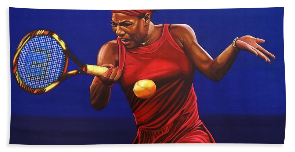 Serena Williams Bath Towel featuring the painting Serena Williams Painting by Paul Meijering