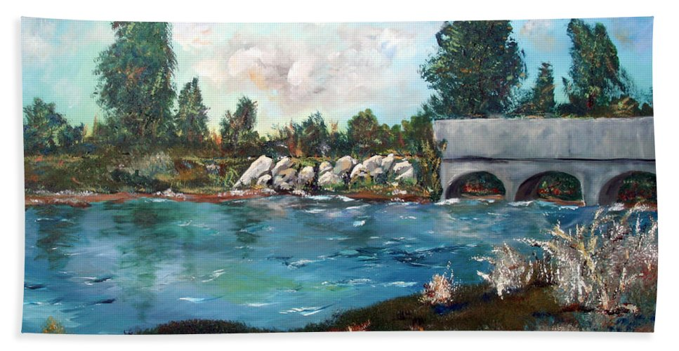 River Hand Towel featuring the painting Serene River by Gail Daley