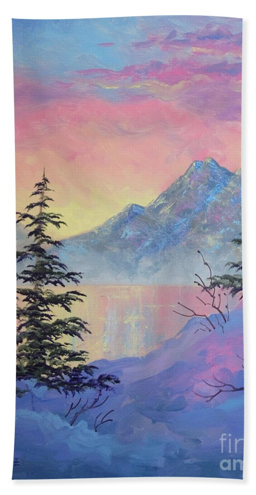 Serene Sunset Hand Towel featuring the painting Serene Sunset by Teresa Ascone