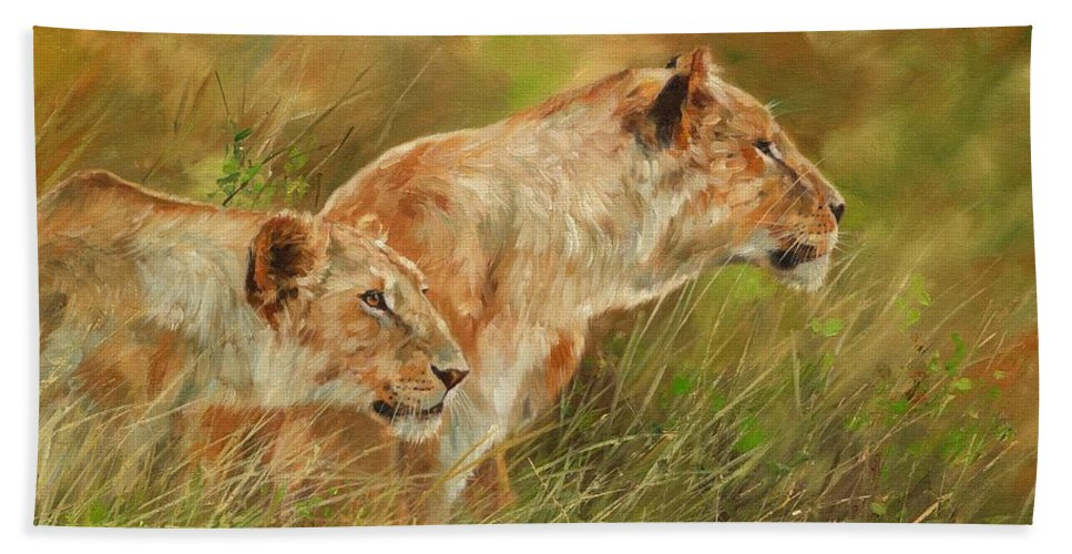 Lions Hand Towel featuring the painting Serengeti Sisters by David Stribbling