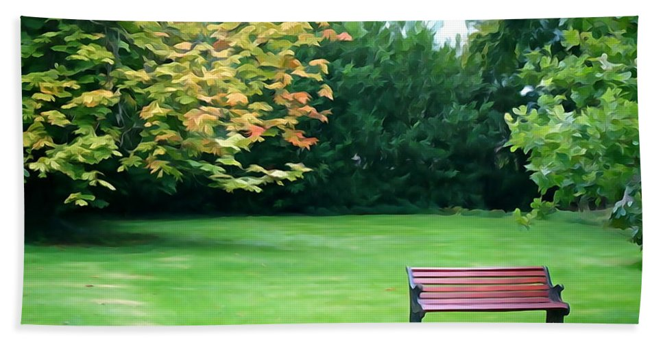Bench Hand Towel featuring the photograph Serenity by Charlie and Norma Brock