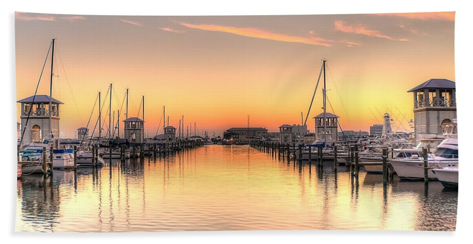 Small Craft Bath Sheet featuring the photograph Serenity Harbor 1 by Beth Gates-Sully