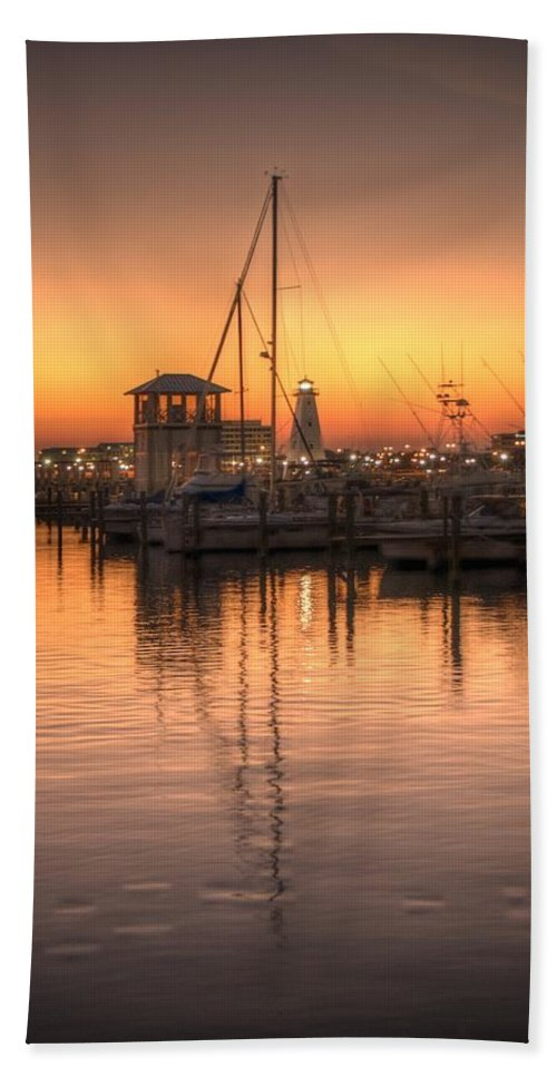 Sunset Bath Sheet featuring the photograph Serenity Harbor 4 by Beth Gates-Sully