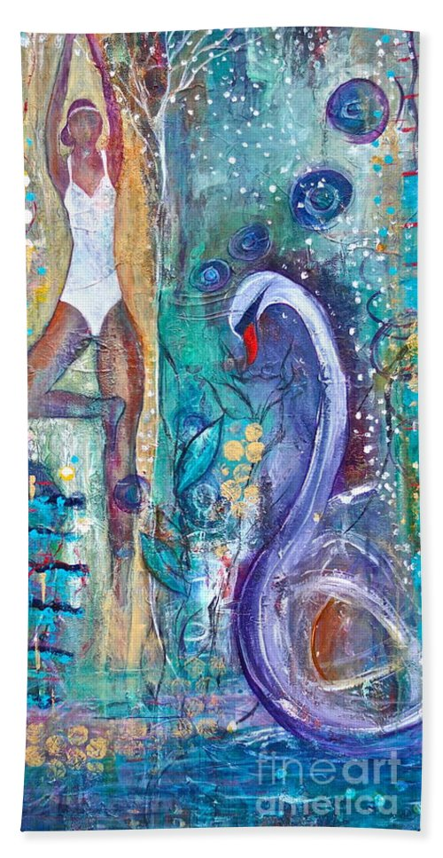 Yoga Bath Towel featuring the painting Serenity In Seasons by Gail Butters Cohen
