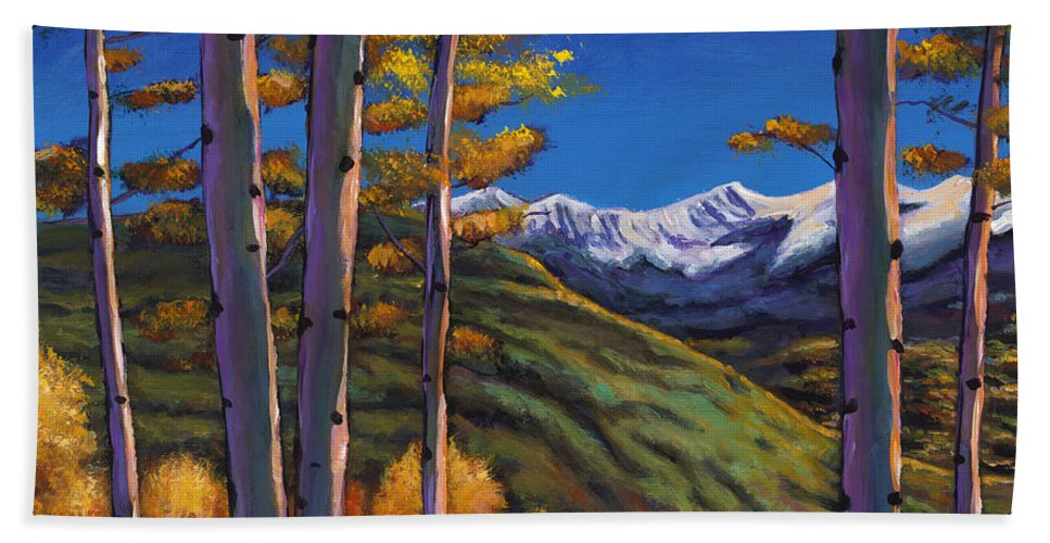 Autumn Aspen Hand Towel featuring the painting Serenity by Johnathan Harris