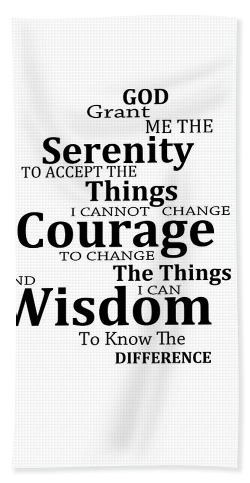 Serenity Prayer 6 - Simple Black And White Bath Towel for Sale by Sharon  Cummings 728f4d163cfd2