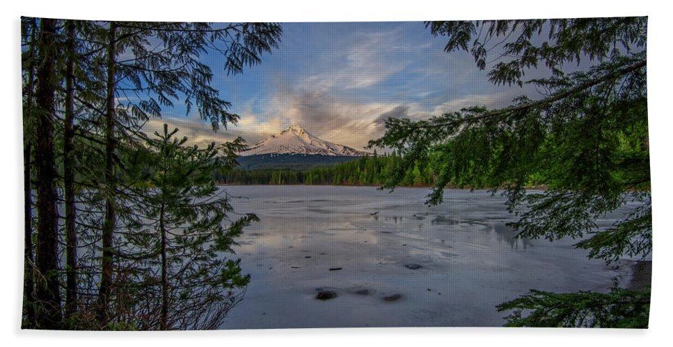 Mount Hood Bath Sheet featuring the photograph Serenity by Rick Berk