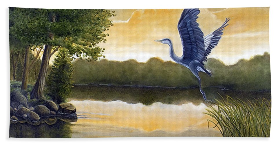 Rick Huotari Hand Towel featuring the painting Serenity by Rick Huotari