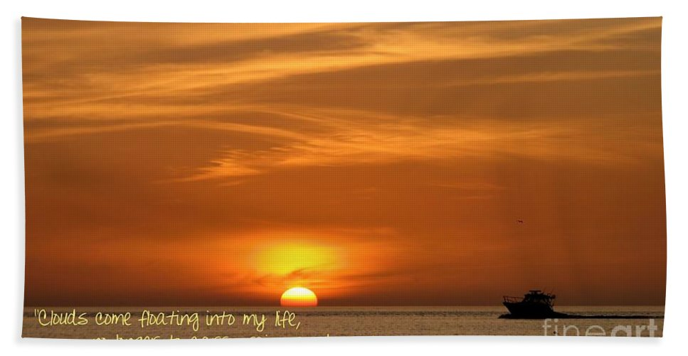 Clouds Bath Sheet featuring the photograph Serenity Sunset by Peggy Hughes