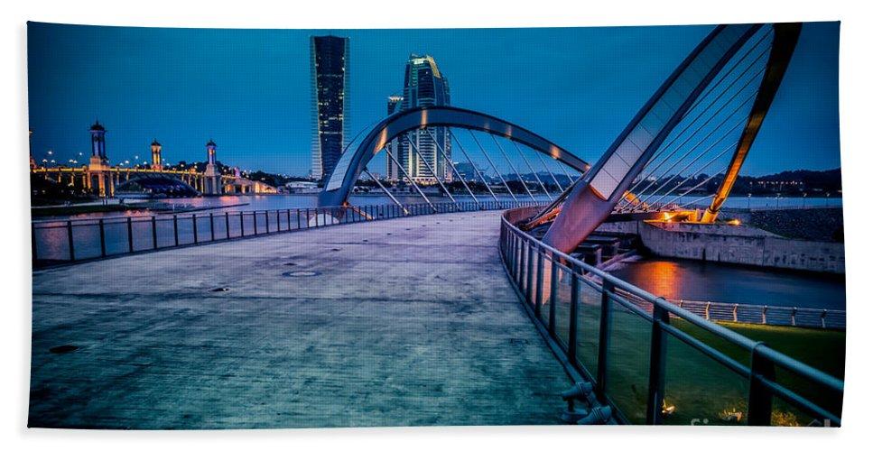 Cityscape Bath Sheet featuring the photograph Seri Gemilang Bridge 1 by Adrian Evans
