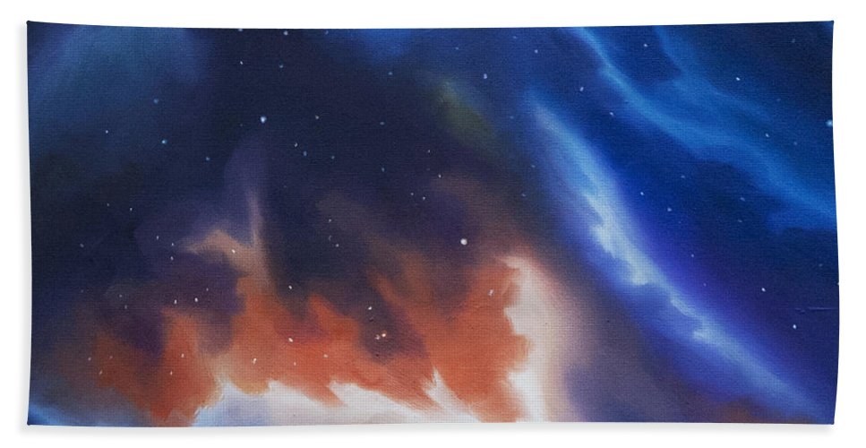 James C. Hill Hand Towel featuring the painting Seria Nebula by James Christopher Hill