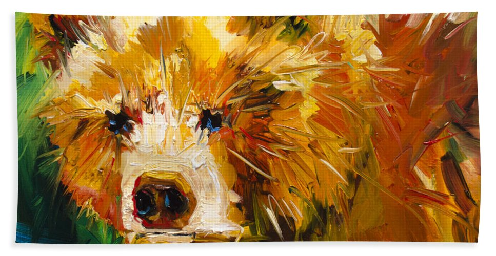 Bear Art Bath Sheet featuring the painting Serious Bear by Diane Whitehead