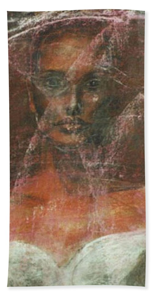 Portrait Art Bath Sheet featuring the painting Serious Bride Mirage by Jarmo Korhonen aka Jarko