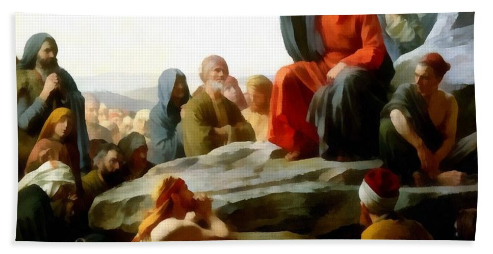 Carl Bloch Hand Towel featuring the digital art Sermon On The Mount Watercolor by Carl Bloch