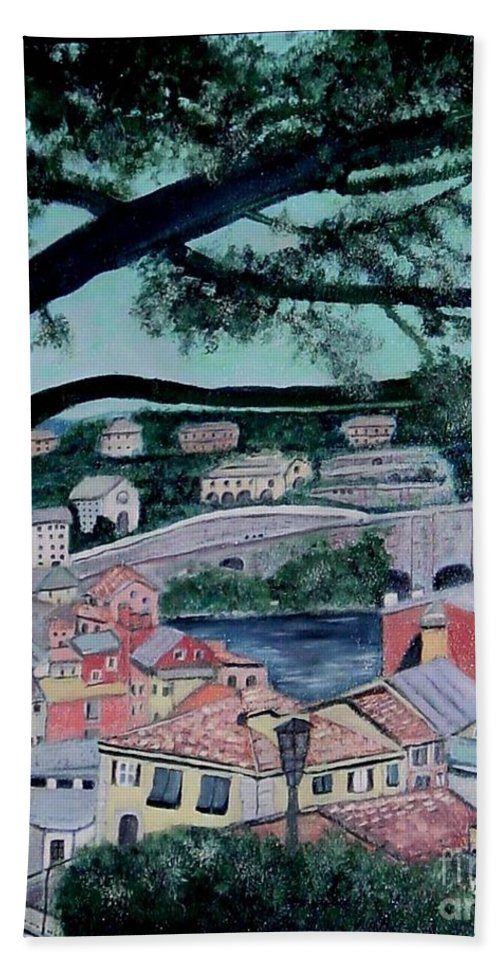 Italy Hand Towel featuring the painting Sestri Levante by Laurie Morgan