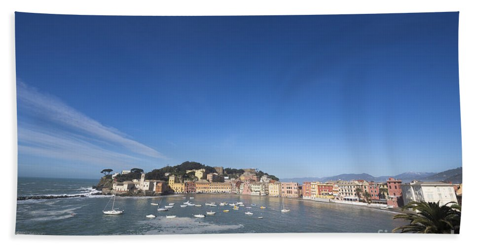 Village Bath Sheet featuring the photograph Sestri Levante With The Sea And Blue Sky by Mats Silvan