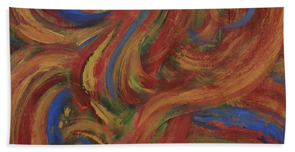 Abstract Hand Towel featuring the painting Set To Music - Original Abstract Painting Painting - Affordable Art by Quin Sweetman