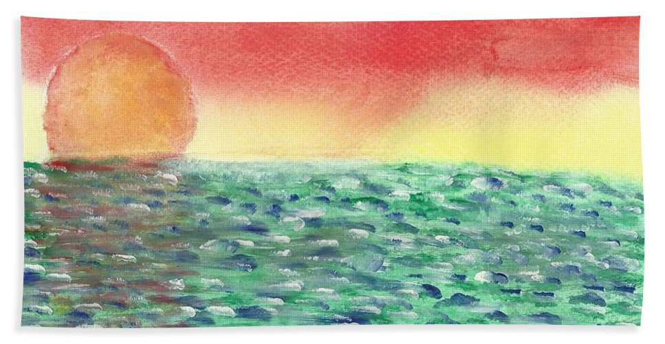 Sunset Hand Towel featuring the painting Setting Sea by John Williams