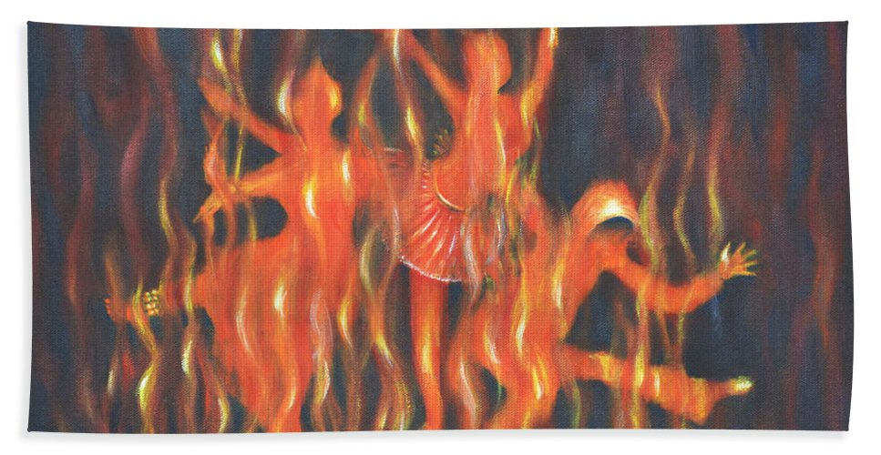 Dance Bath Sheet featuring the painting Setting The Stage On Fire by Usha Shantharam