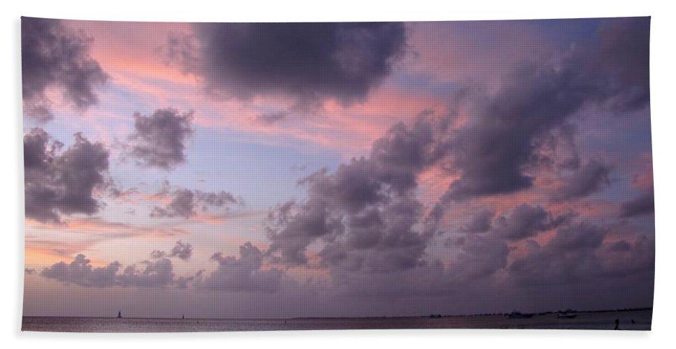 Seven Mile Beach Bath Sheet featuring the photograph Seven Mile Beach Sunset by Peggy Hughes