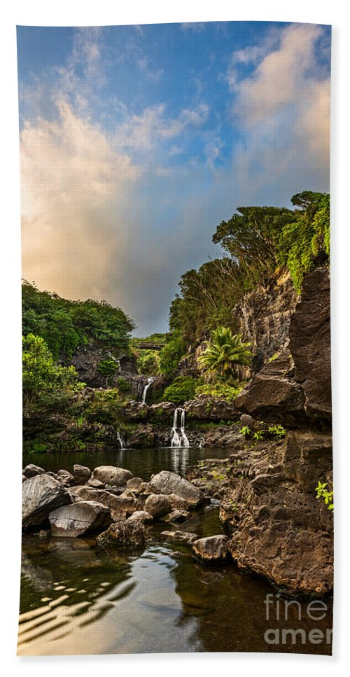 Seven Sacred Pools Bath Sheet featuring the photograph Seven Sacred Paradise by Jamie Pham