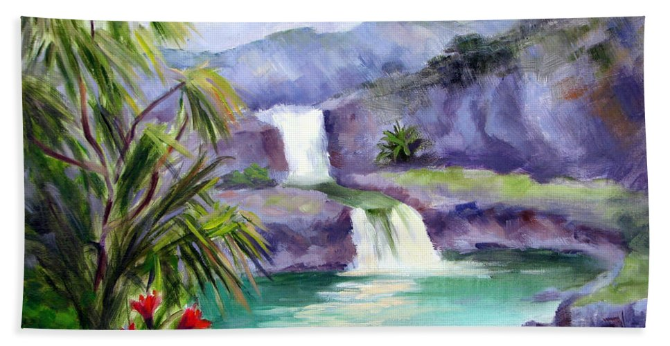 Hawaii Hand Towel featuring the painting Seven Sacred Pools by Karin Leonard
