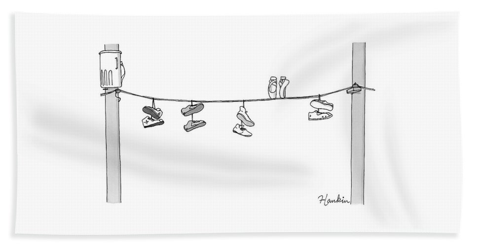 Captionless Bath Sheet featuring the drawing Several Pairs Of Shoes Dangle Over An Electrical by Charlie Hankin