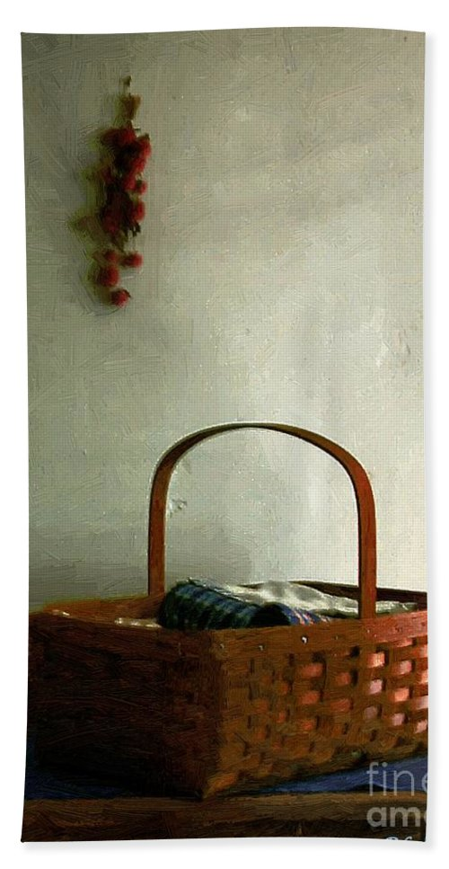 Americana Hand Towel featuring the painting Sewing Basket In Sunlight by RC DeWinter