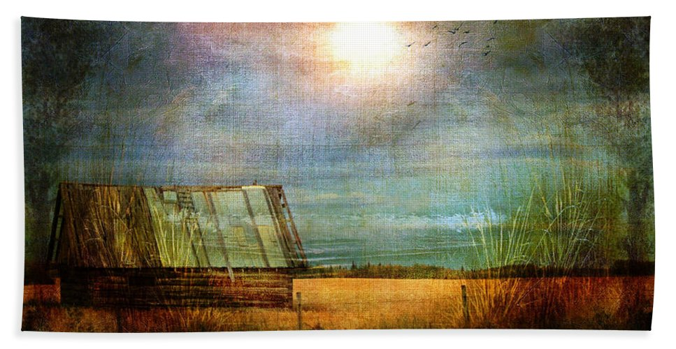 Shack Hand Towel featuring the photograph Shack On The Prairie Corner by Sandra Foster