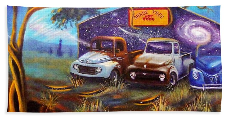 Pick Up Trucks Bath Sheet featuring the painting Shade Tree Hot Rods by Sherry Strong