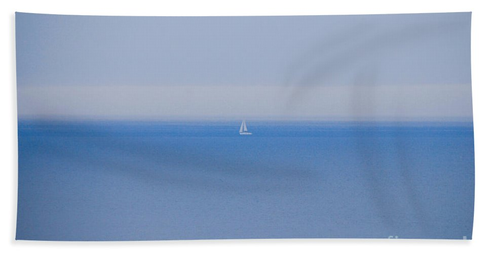 Sailboat Hand Towel featuring the photograph Shades Of Blue by Mary Carol Story