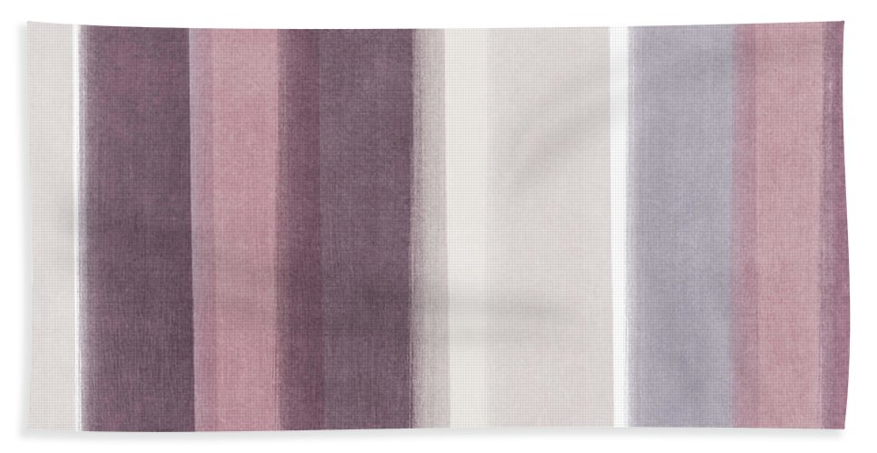 Watercolor Bath Towel featuring the mixed media Shades Of Purple- Contemporary Abstract Painting by Linda Woods