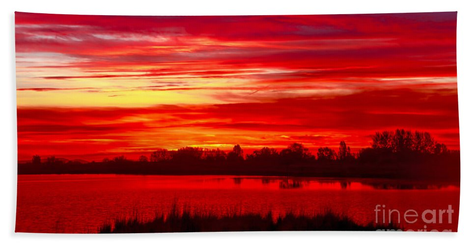Sunset Bath Sheet featuring the photograph Shades Of Red by Robert Bales