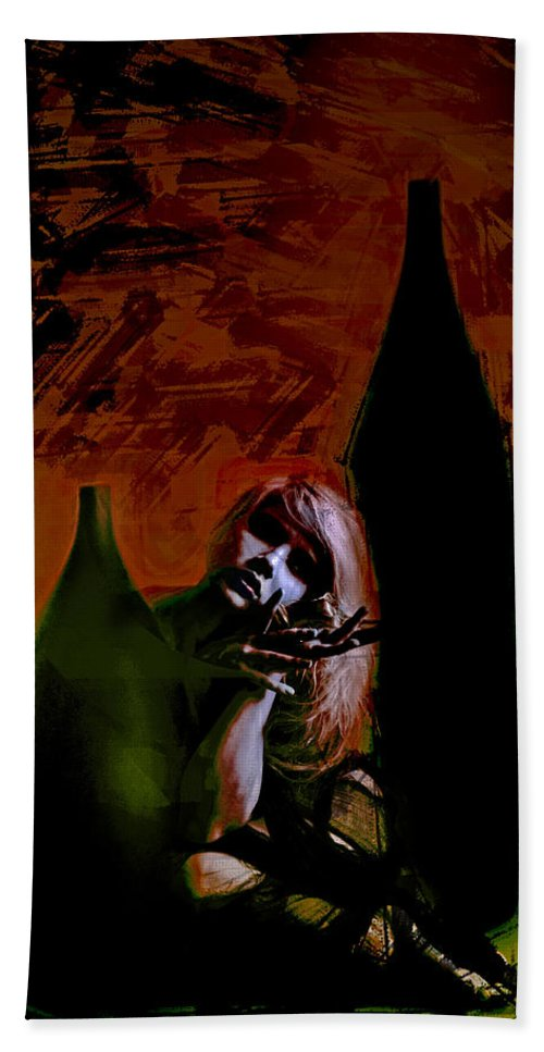 Portrait Bath Sheet featuring the digital art Shadow Comfort by Galen Valle