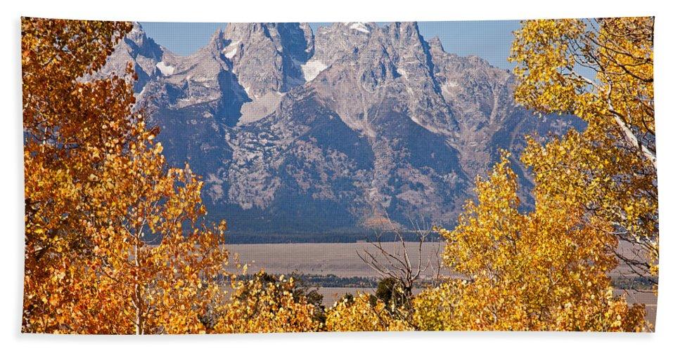 Aspen Bath Sheet featuring the photograph Shadow Mountain Grand Teton National Park by Fred Stearns