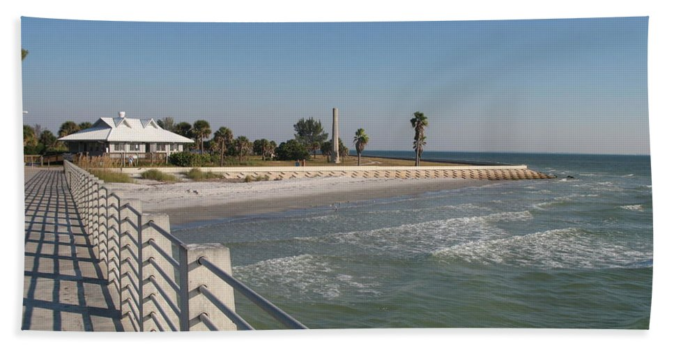 Pier Hand Towel featuring the photograph Shadow On The Pier by Christiane Schulze Art And Photography