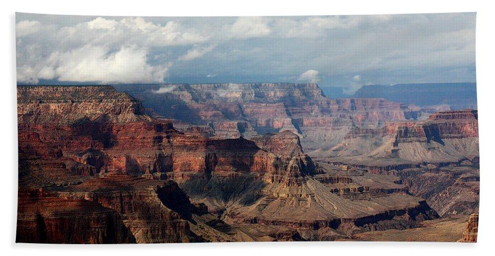 Grand Canyon Bath Sheet featuring the photograph Shadow Races by Joe Kozlowski
