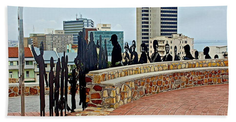 Shadow Representations Of People Coming To The Port In Donkin Reserve In Port Elizabeth Hand Towel featuring the photograph Shadow Representations Of People Coming To The Port In Donkin Reserve In Port Elizabeth-south Africa  by Ruth Hager