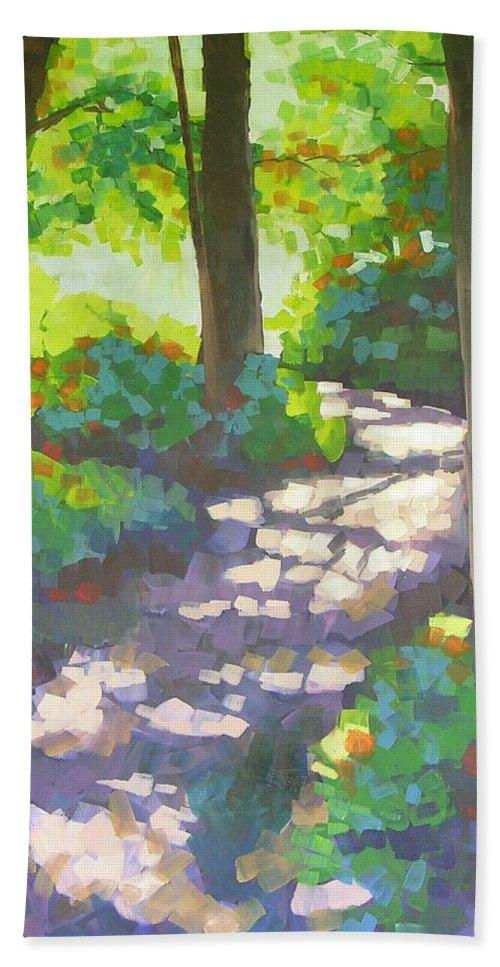 Landscape Bath Towel featuring the painting Shadowed Path by Mary McInnis