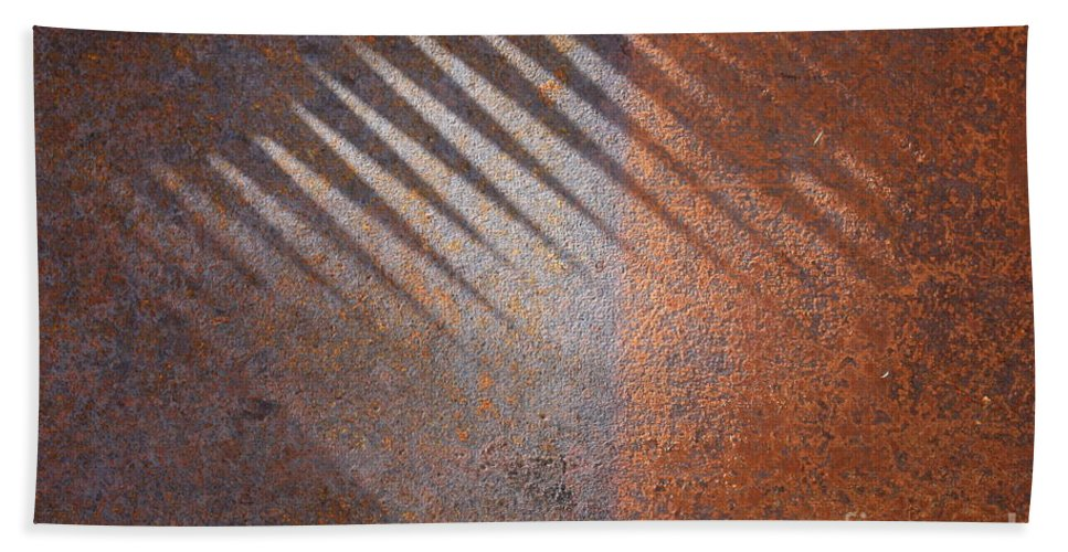 Rust Hand Towel featuring the photograph Shadows And Rust by Carol Groenen