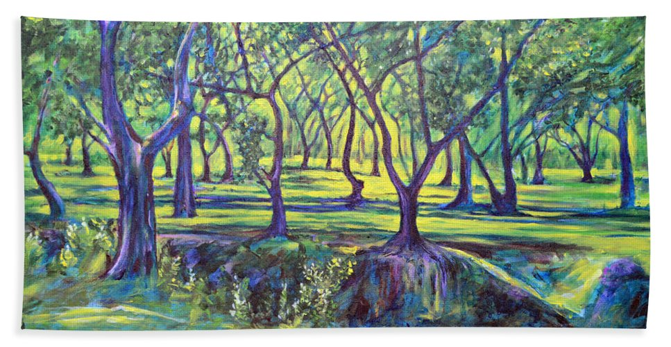 Landscape Bath Towel featuring the painting Shadows At Noon - Indian Landscapes by Usha Shantharam