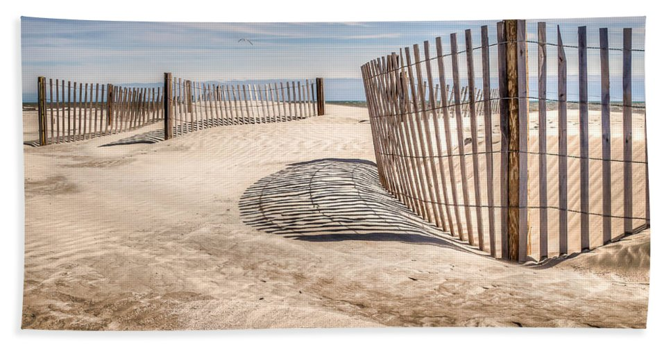 Folly Beach Hand Towel featuring the photograph Shadows In The Sand II by Curtis Cabana